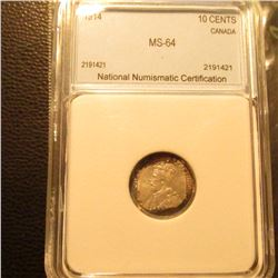 1914  Silver 10C Canada NNC Very CH.BU #2199421 End of Roll Toning Nice!