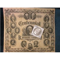 "1776-1876 Centennial Dwight Compy., Registered 1876, 9 5/8"" x 8 1/2"", by American Bank Note Co. New"