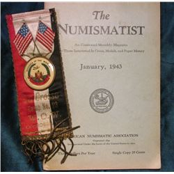 """The Numismatist January, 1943"" (most of these were destroyed in the World War II paper drives; & ""W"