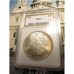 1886 P U.S. Morgan Silver Dollar. NGS slabbed MS 67. No. 32285. Light gold toning.