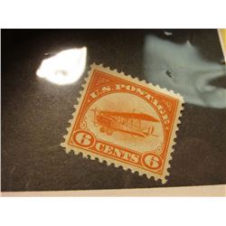 Rare Scott # C1 U.S. Six Cent Airmail stamp depicting Bi-plane. Unused. Hinged. Catalog value $80.00