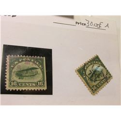 (2) Rare Scott # C2 U.S. Sixteen Cent Airmail stamp depicting Bi-plane. Used. Catalog value $60.00.