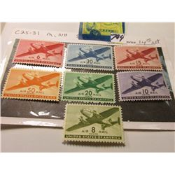 Airmail Stamps. All Mint. Not hinged. Scott # C25-31. Catalog value $14.00.