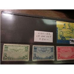 Airmail Stamps. All Mint, VF. Not hinged. Scott # C20-22. Catalog value $20.00.