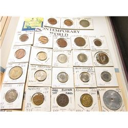 "(23) Various Foreign Coins in 1 1/2"" x 1 1/2"" holders. Includes Austria, Colombia, Cyprus, Denmark,"