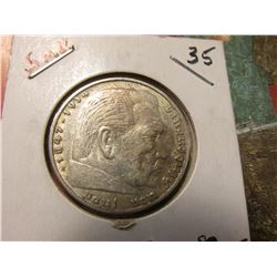 1936 Paul von Hindenburg 5 Reichsmark Silver Commemorative. Early Nazi Germany Issue. VF-EF.