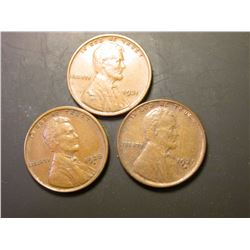 1928D, 29D, & 31P Lincoln Cents. All EF+.