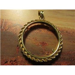 14K Gold Rope Bezel for a Canada One Ounce Gold Maple Leaf. Weighs 4.40 grams.