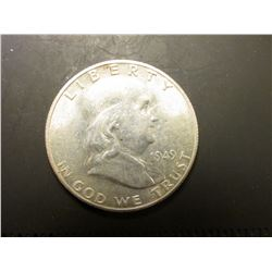 1949 S Franklin Half Dollar. AU 58.