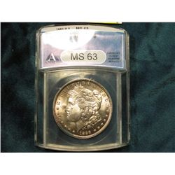 1889 O Morgan Silver Dollar. ANACS slabbed MS 63. Serial No. 2867453.