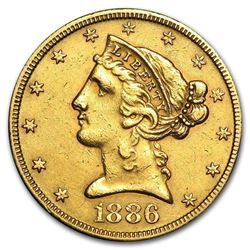 $5 Liberty Gold Half Eagle 1839 - 1908
