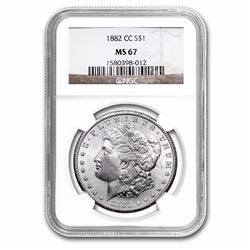 1882-CC Morgan Dollar MS-67 NGC. HIGHEST GRADE KNOWN FOR THIS COIN