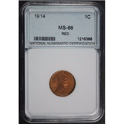 1914 LINCOLN CENT SUPERB GEM BU RED NNC GRADED