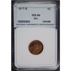 1917-S LINCOLN CENT GEM BU RED NNC GRADED