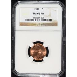 1947 LINCOLN CENT, NGC  MS-66 RED  NGC PRICE GUIDE=$160.00