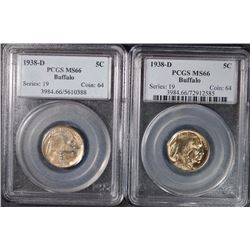 ( 2 )  1938-D BUFFALO NICKELS, PCGS MS-66