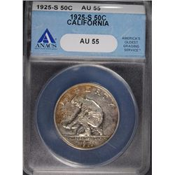 1925-S CALIFORNIA COMMEMORATIVE HALF DOLLAR, ANACS AU-55