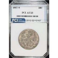 1927-S WALKING LIBERTY HALF DOLLAR, PCI AU