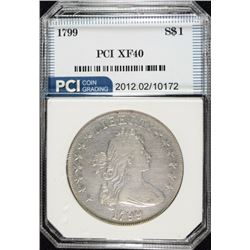 1799 DRAPED BUST DOLLAR, PCI XF