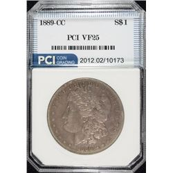 1889-CC MORGAN SILVER DOLLAR, PCI VF  KEY DATE,  NICE!
