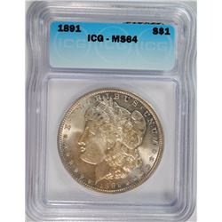 1891 MORGAN DOLLAR ICG MS-64