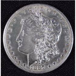 1887-S MORGAN SILVER DOLLAR, CHOICE BU