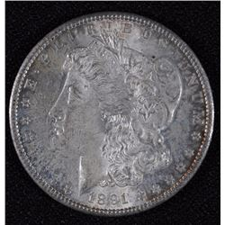 1891-S MORGAN SILVER DOLLAR, CHOICE BU+