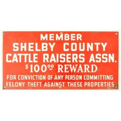 Shelby County Cattle Raisers Assn. Porcelain Sign