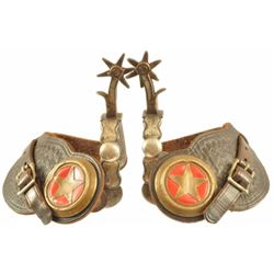 Pair Of Red Texas Star Concho Drop Shank Spurs