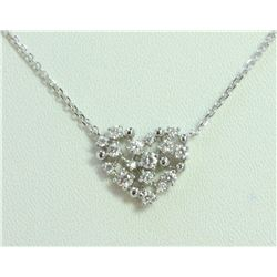 14K WHITE GOLD PENDANT WITH CHAIN 2.9g/Diamond 0.46ct