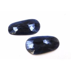 74 ct & up Natural Sapphire Slice Rose Cut Loose Stone 2Pcs