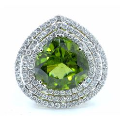 GIA Certified Natural PERIDOT 12.47CT, 18KW/Y/G10.55GRAM / DIAMOND 2.83CT