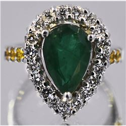 Emerald Yellow Sapphire  4.30 ctw Diamond Cocktail Ring 14KW