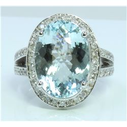 14K : 12.3g/Diamond : 1.11ct/Acuamarine : 8.38ct