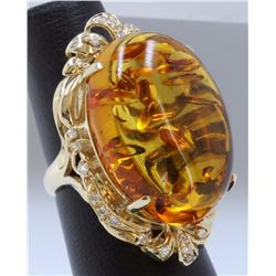 14K:13.4g/Diamond:0.35ct/Amber:25.2ct