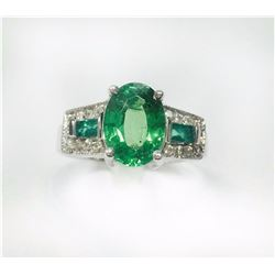 14K W/G RING 4.33GRAM / DIAMOND RD 0.25CT / TSAVORITE 2.97CT