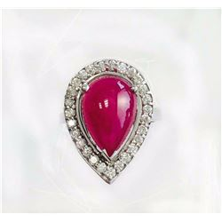 RUBY 5.67CT,  14K W/G RING 5.74GRAM / DIAMOND RD 0.60CT
