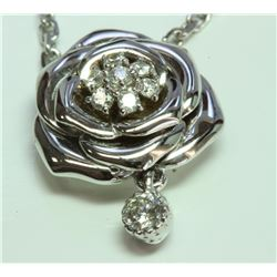 14K WHITE GOLD ROSE PENDANT WITH CHAIN:4.82g/Diamond:0.24ct