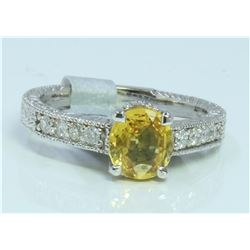 14K WHITE GOLD RING 4.5GRAM  DIAMOND 0.24CT YELLOW SAPPHIRE 1.27CT