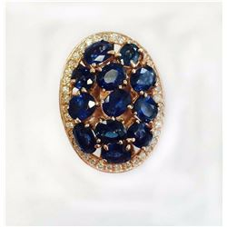BLUE SAPPHIRE OVAL 5.25CT, 14K R/G RING 7.19GRAM / DIAMOND RD 0.39CT