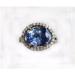 BLUE SAPPHIRE OVAL 4.21CT, 14K W/G RING 5.26GRAM / DIAMOND RD 0.30CT
