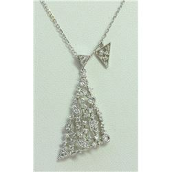 14K WHITE GOLD PENDANT WITH CHAIN 3.82g/Diamond 0.55ct