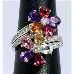 14K WHITE GOLD RING 8.90 GRAM  DIAMOND 0.64CT PINK TOPAZ 2.00 CT PINK TOURMALINE 0.33CT AMETHYST 3.0