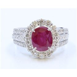 14K WHITE GOLD RING 7.6GRAM DIAMOND 1.42CT RUBY CENTER OVAL 3.15CT