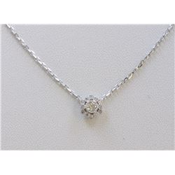 14K WHITE GOLD PENDANT WITH CHAIN :2.66g/Diamond:0.19ct