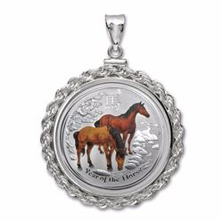 2014 1/2 oz Silver Colorized Horse Pendant (Screw-Top Rope Bezel)