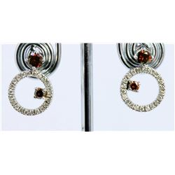 14K WHITE GOLD EARRING 3.70GRAM  DIAMOND 0.35CT/ BROWN DIAMOND 0.62CT