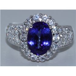 Tanzanite   3.28 ctw &  Diamond Ring 18KW