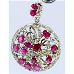 14K WHITE GOLD PENDANT13.80GRAM  DIAMOND 1.47CT RUBY 7.33CT