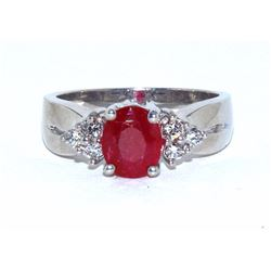 Ruby  1.71  ctw & Diamond Ring 14KW